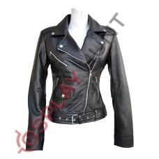 Ladies Brando Style Sheep Leather Jacket / Stylish Brando Biker Jacket