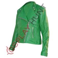Ladies Green Brando Style Leather Jacket / Stylish Brando Biker Jacket