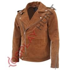 Men's Brown Brando Style Leather Jacket / Stylish Fashion Jacket