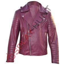 Men's Purple Brando Style Leather Jacket / Stylish Brando Biker Jacket