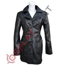 Women's Black Trench Long Leather Coat / Ladies Long Coat