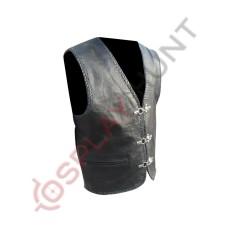 Black Western Cowboy Fashion Biker Leather Vest Jacket