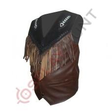 Mens Bread Fringe Western Leather vest Jacket