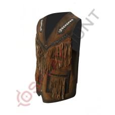 Mens Stylish Dark Brown Western Suede Leather Vest