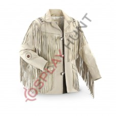 Mens Western Beige Sculley Fringed Suede Leather Jacket / Beaded Leather Jacket