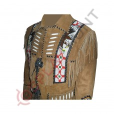 Mens Western Sculley Fringed Suede Leather Jacket / Beaded Leather Jacket