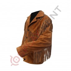 Mens Western Classic Tan Suede Leather Jacket