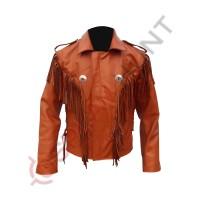 Mens Western Cowboy Tan Fashion Leather Jacket