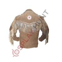Mens Western Dark Brown Sculley Fringed Suede Leather Jacket / Beaded Leather Jacket