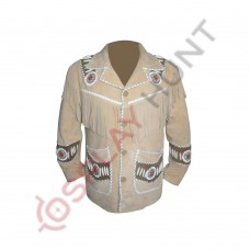Mens Western Light Brown Sculley Fringed Suede Leather Jacket