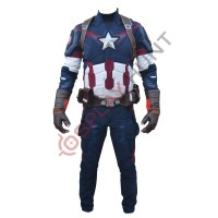 Avengers Age of Ultron Captain America Steve Rogers Costume with Accessories ( Textured Stretch Fabric )