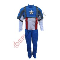 Captain America The First Avenger Chris Evans Costume Suit ( Textured Stretch Fabric )