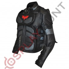 Batman The Dark Knight Rises Motorcycle Leather Jacket Red Logo / Batman v Bane Motorbike jacket