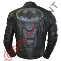 Batman Motorcycle Leather Jacket / Batman Moto with Gray Bat Logo