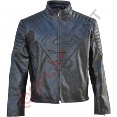 Clark Kent Superman Smallville Black Leather Jacket / Superman Man of Steel Leather Jacket