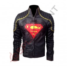 Clark Kent Superman Smallville Black with Red Leather Jacket / Superman Man of Steel Leather Jacket