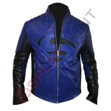 Clark Kent Superman Smallville Blue Leather Jacket / Superman Man of Steel Leather Jacket
