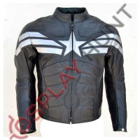 Chris Evan Captain America The Winter Soldier Leather Jacket 2014 Black With Silver