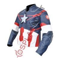 Avengers Age of Ultron Captain America Steve Rogers Costume Leather Jacket with Reflective Tape