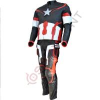 Avengers Age of Ultron Captain America Steve Rogers Costume Leather Suit / Avenger 2 Age of Ultron Suit Black