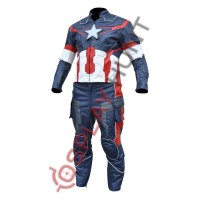 Avengers Age of Ultron Captain America Steve Rogers Costume Leather Suit with Reflective Tape