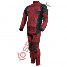 Ryan Reynolds DeadPool 2 Movie Motorcycle Leather suit / Dead Pool Full Suit Costume