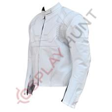 Men White Tom Cruise Oblivion Motorcycle Leather Jacket / Jack Harper Oblivion Jacket