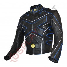 X-Men 3 The Last Stand Motorcycle Leather Jacket / X-Men 3 Wolverine Jacket Blue