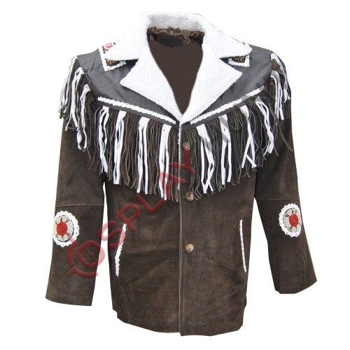 Men's Western White and Brown Sculley Suede Leather Jacket