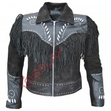 Men's Western Black and Gray Sculley Suede Leather Jacket