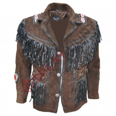 Men's Western Dark Brown Sculley Suede Leather Jacket
